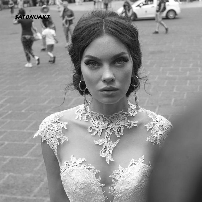 SATONOAKI Hoge Hals Kant Trouwjurken Cap Sleeve Sheer Hals EEN Lijn Bruidsjurken Geappliceerd Vintage Bridal Jurken - 3