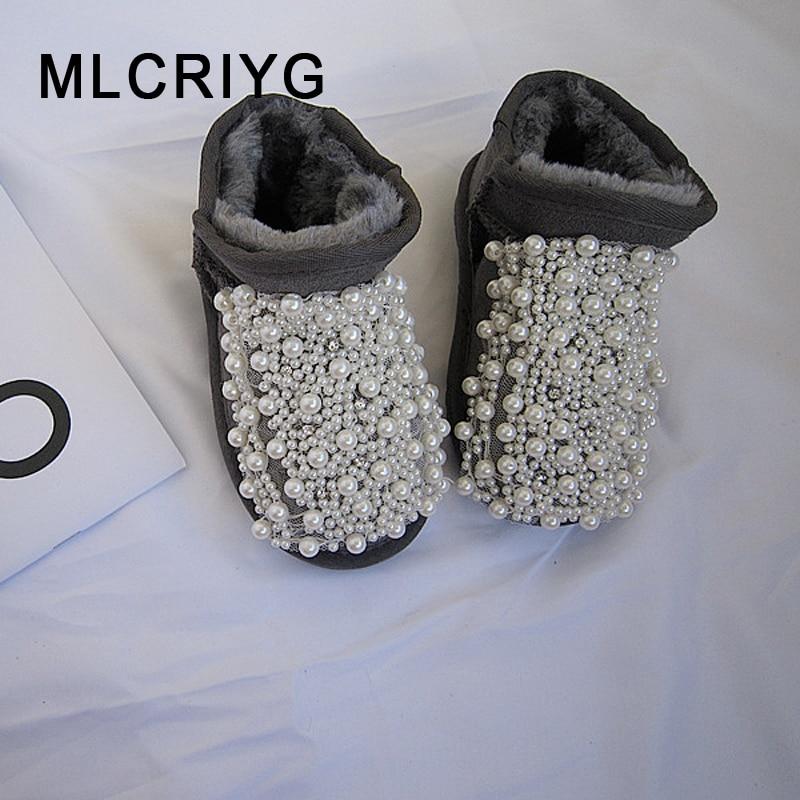 Hiver enfants bottes de neige bébé filles bottines enfants chaud perle chaussures enfant en bas âge en cuir véritable bottes rose marque sans lacet chaussures