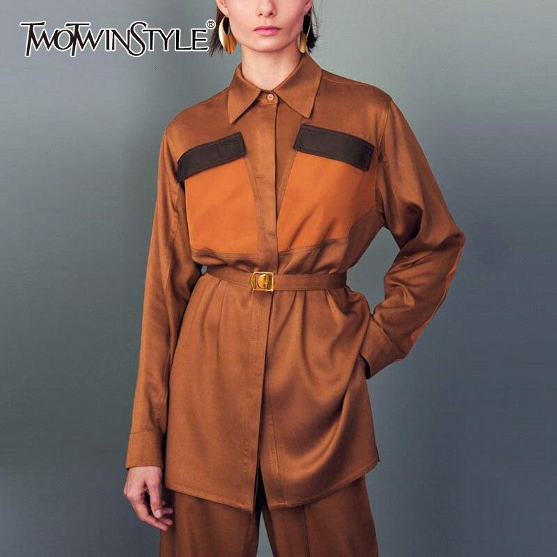 TWOTWINSTYLE Satin Women's Set Two Piece Set Lapel Collar Sashes Shirt High Waist Slim Pants Female Suit 2019 Autumn Fashion New