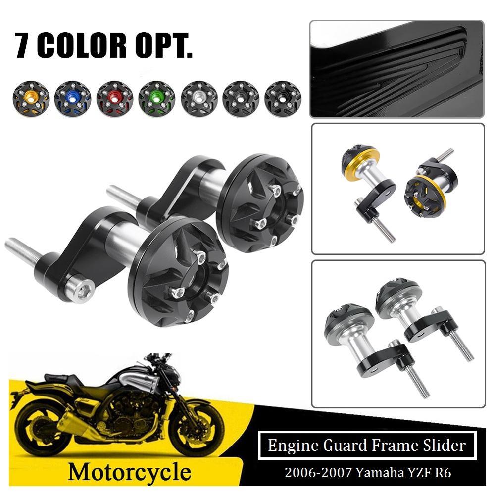 Black Motorcycle Crash Pad Frame Slider Protector For Yamaha YZF R6 2006-2007