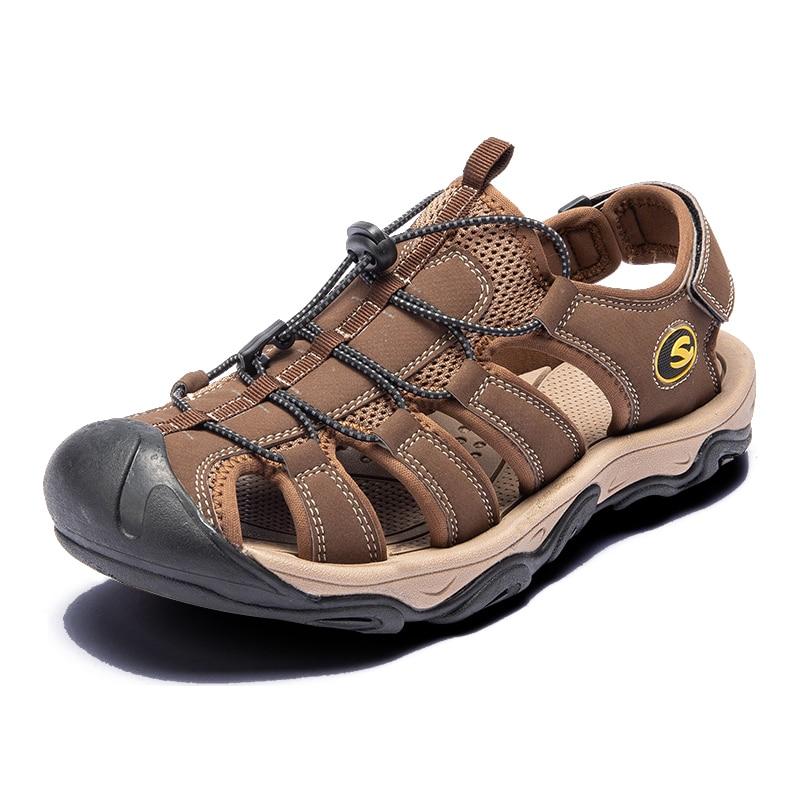 Image 3 - Fashion Men Beach Sandals size 39 46 Men Roman Style Sandals Summer Leather Shoes for Beach Outdoor Walking shoes maleMens Sandals   -