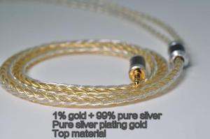 Image 5 - 1% الذهب + 99% الفضة النقية + الفضة النقية مطلي الذهب ، سماعة ترقية كابل MMCX 0.78 مللي متر 2PIN