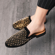 Cool-Slippers Mules Black Loafers Casual Shoes Gold Male Summer New QUAOAR for Men Anti-Slip