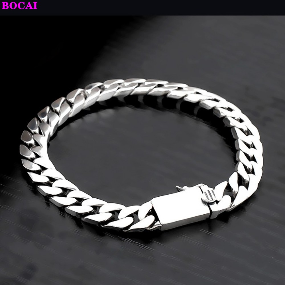 Smooth  S925 Sterling  Silver  Couple Bracelet Simple Retro Thai Silver  Fashion Jewelry Pure Silver Bracelet For Men  And Women