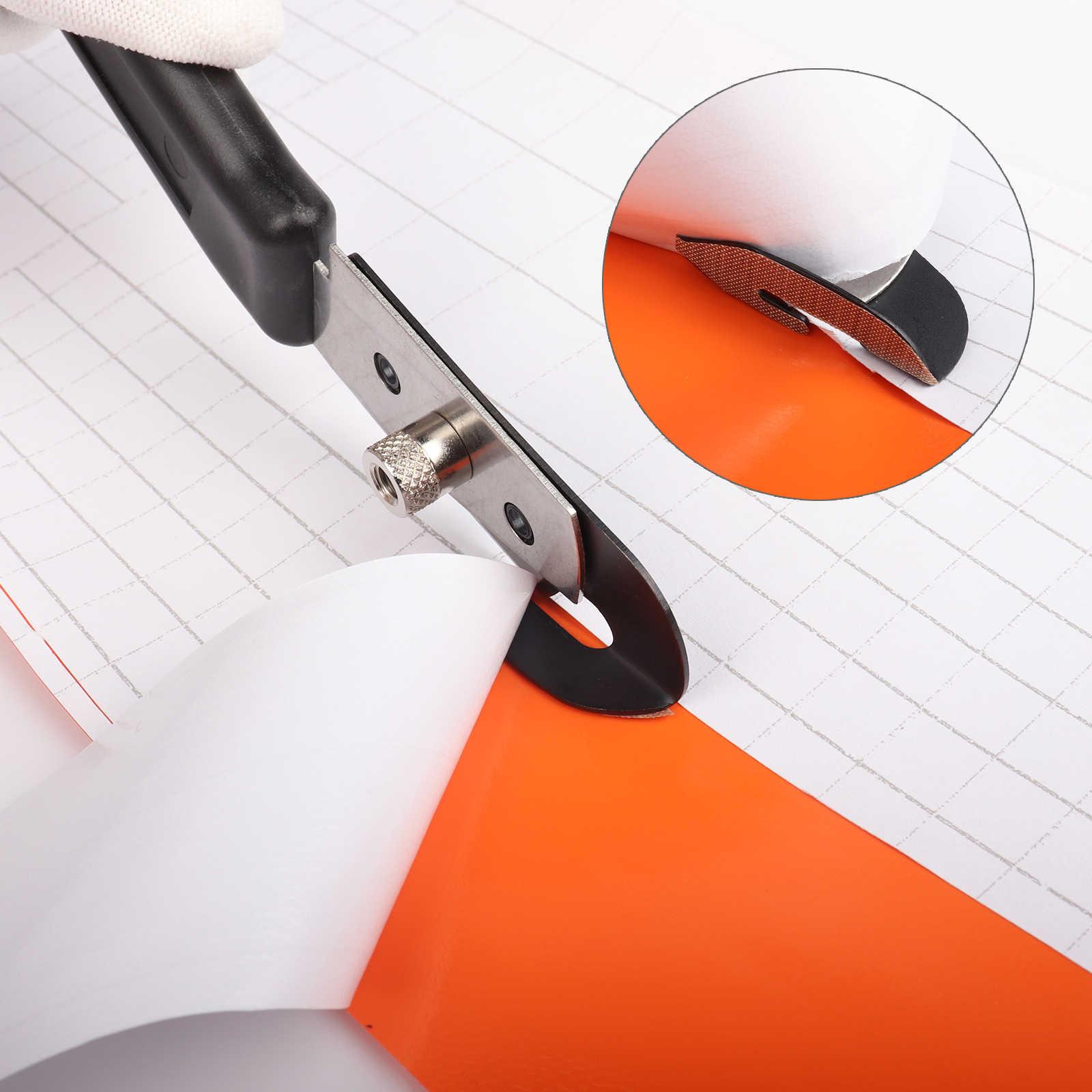 FOSHIO เทฟลอนเครื่องตัดไวนิลคาร์บอนไฟเบอร์ไวนิลฟิล์มห่อตัดมีดยูทิลิตี้ + 10PCS ใบมีด Window Tint กระดาษสติกเกอร์ตัดเครื่องมือ