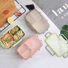 1000ml material saudável caixa de almoço à prova de vazamento partição bento caixas microondas recipiente de armazenamento de alimentos lancheira bpa livre