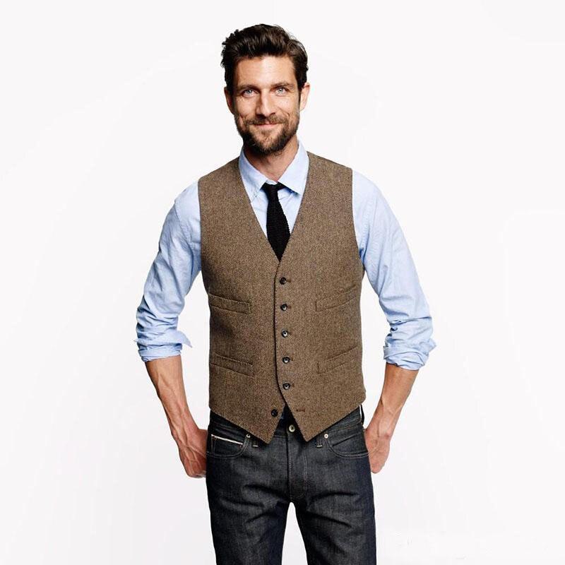 Vintage Brown Groom Vests For Rustic Wedding Tweed Herringbone Mens Suit Vests Slim Fit Men's Dress Vest Custom Waistcoat Adjust