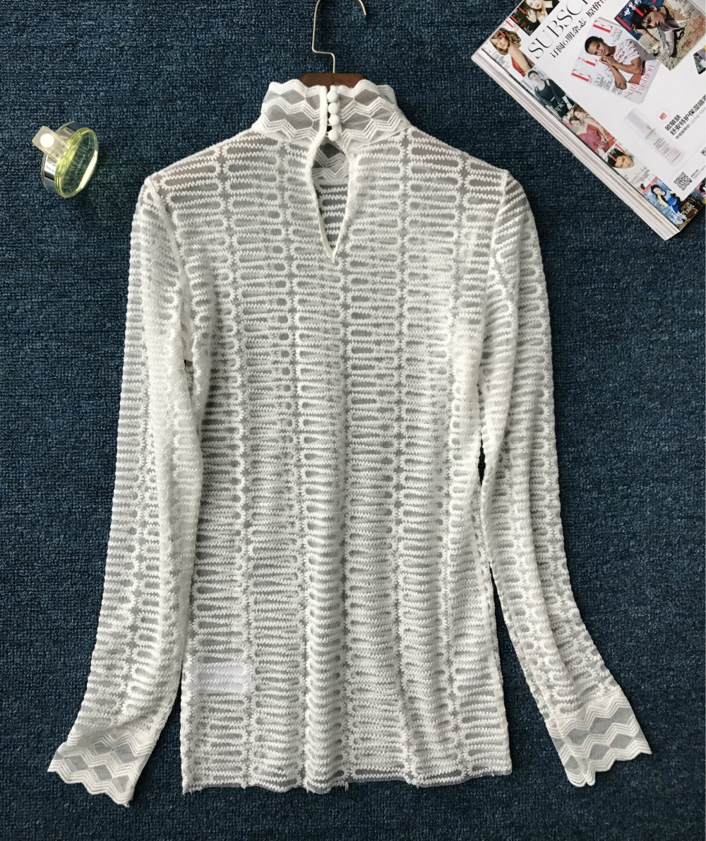 Women Black/ White Lace Shirt Long Sleeve High Collar Corrugated Elegant See Through Sexy Bottoming Top