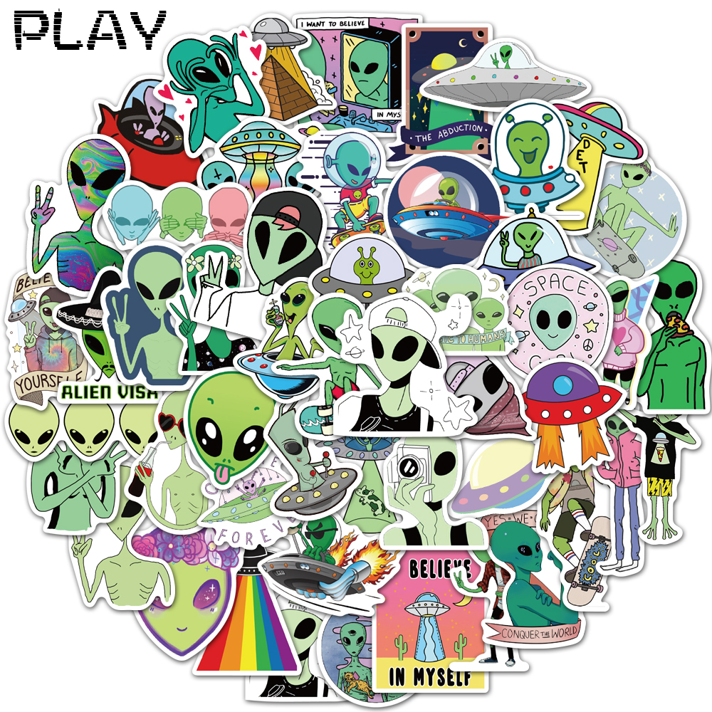 50pcs/bag alien series <font><b>stickers</b></font> <font><b>UFO</b></font> universe PVC waterproof children's toy <font><b>stickers</b></font> DIY skateboard luggage laptop phone case image