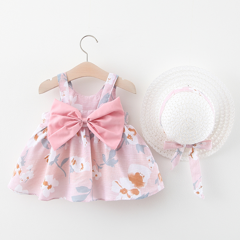 Summer New Baby Dress + Hat Baby Girl Clothes Outfits Girl Princess Birthday Party Dress Bow Print Infant Toddler Newborn Dress