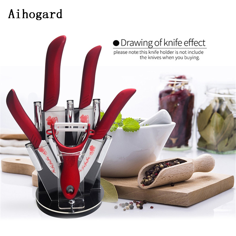 Refinement Acrylic Knife Holder Rack 360 Degree Rotating Swivel Red Knife Block Extra Peeler Holder For Kitchen Gadgets Tools