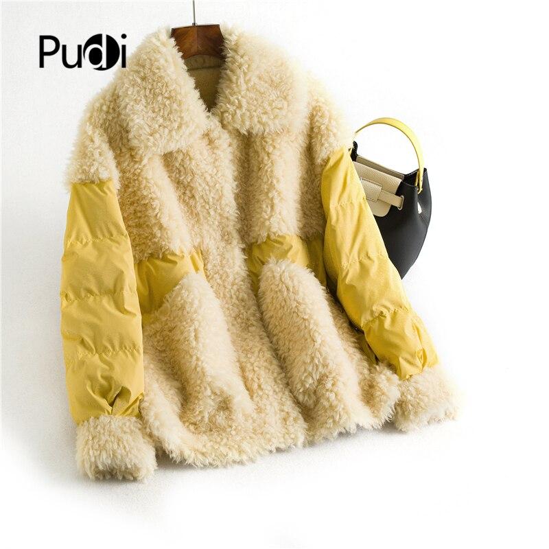 Winter women real wool fur   coat   warm   down   casual jacket 90%   down   girl fur   coats   lady short jacket overcoat OMS05