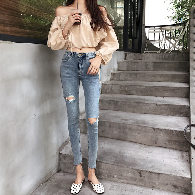 Real shot 2020 new fashion retro design personality stretch jeans women's tight sexy high waist casual small feet ankle jeans