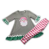 fall winter girl christmas santa embroidery style girl cute clothing set