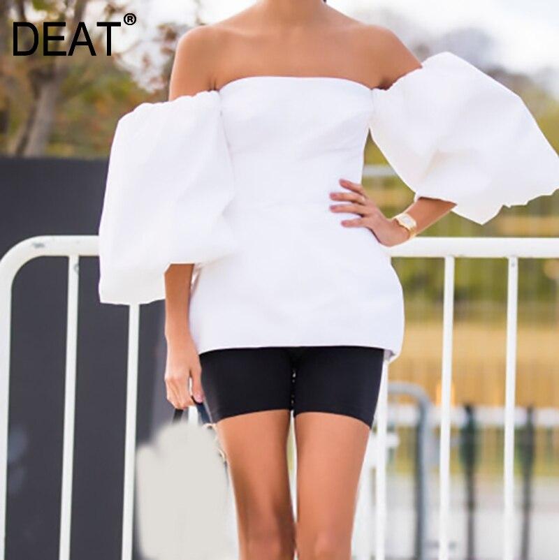 DEAT 2020 nuevo Primavera Verano Slash cuello tres cuartos linterna manga blanca suelta tridimensional vestido mujeres moda JT762 Sandalias planas de plataforma de verano 2020 para mujer, Sandalias de plataforma para mujer, Sandalias de cuña blancas para mujer, zapatos chancletas 825 peep