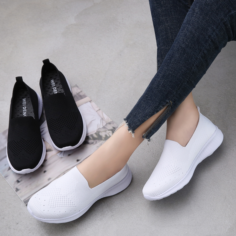 Women flat slip on loafers woman super light mesh white sneakers breathable nurse shoes walking shoes for women sock shoes 3366
