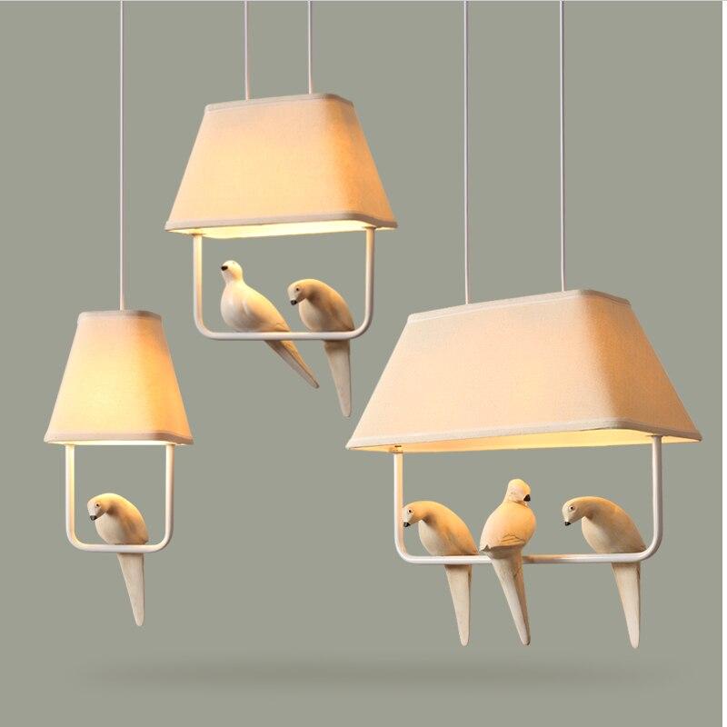 Creative Cloth Art Bird  LED Pendant Lights For  Children Room Restaurant Kitchen Decoration Hanging Lamp Hotle Lamp 110v 220v
