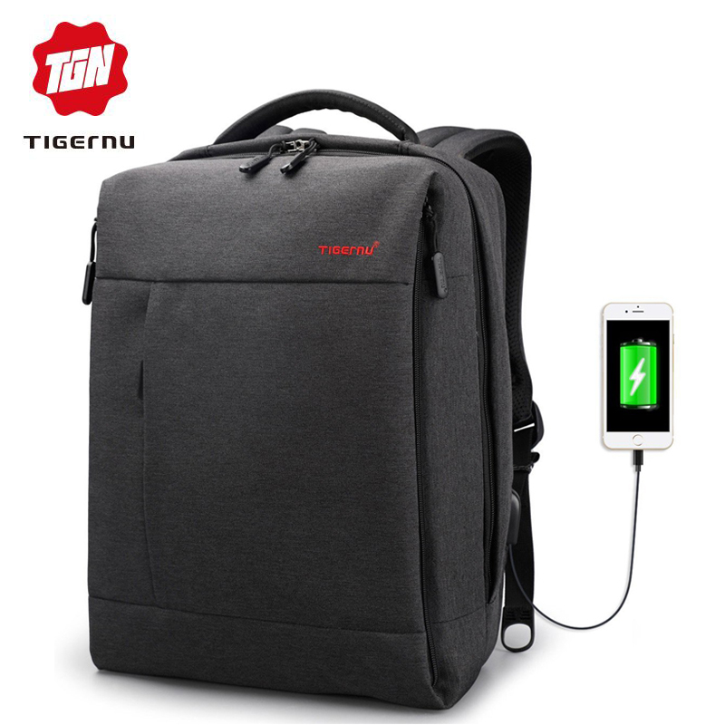 Tigernu Brand USB Charge Male Backpack Anti theft Mochila 