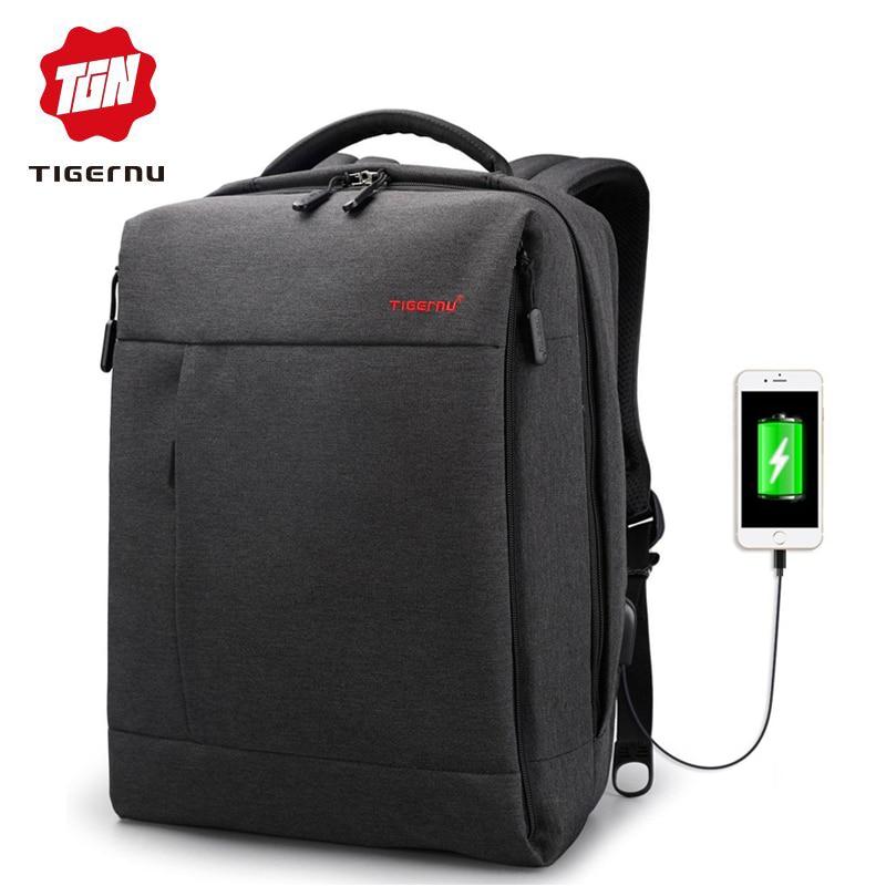 Tigernu Brand USB Charge Male Backpack Anti Theft Mochila 1415