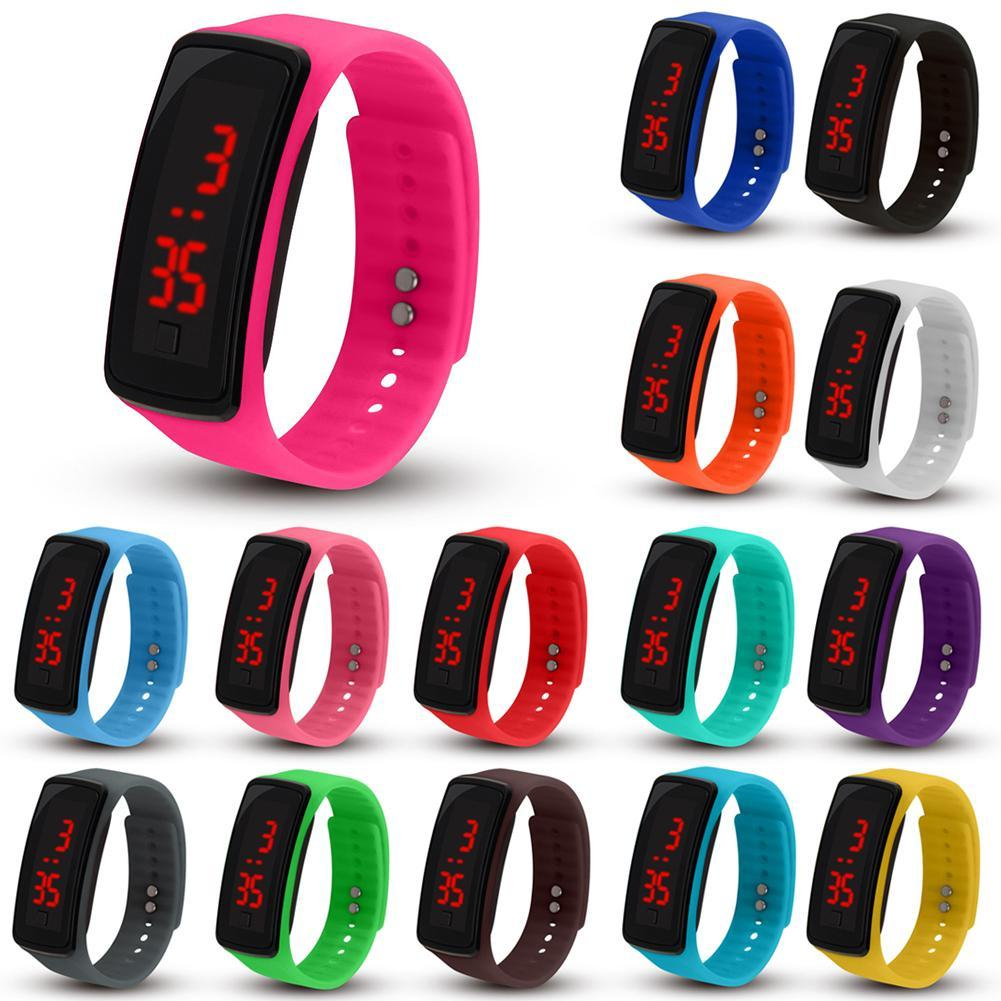 Casual Touch Screen LED Bracelet Watch Ultra Thin Girl Men Sports Silicone Digital LED Wrist Watches Women Montre Femme Clo