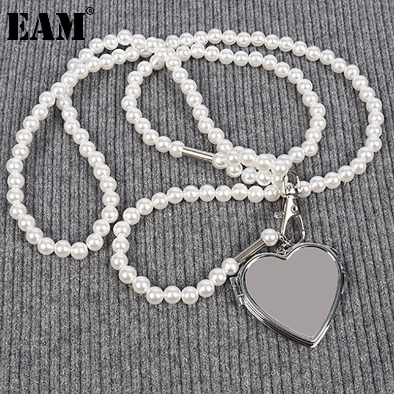 [EAM] Women New White Metal Chain Pearl Spliced Long Personality Accessories Fashion Tide All-match Spring Autumn 2021 1DE2488