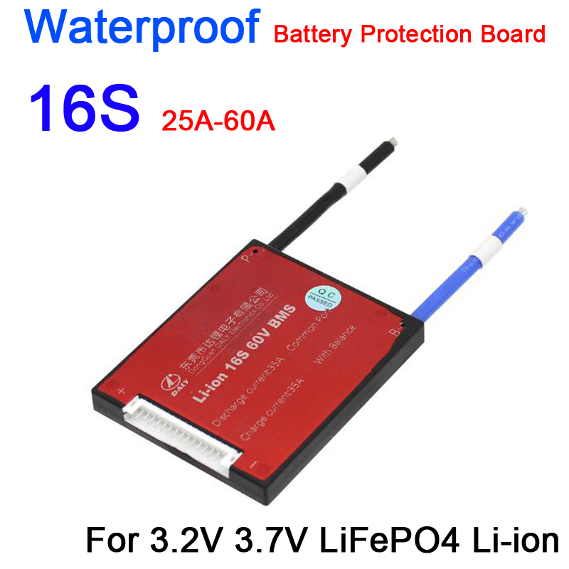 Waterproof 16S 60V 48V 15A 20A 30A 40A 50A 60A LiFePO4 Li-ion BMS Lithium Battery Protection Board W/ Balance 3.2V 3.7V CELLS