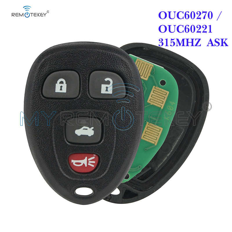 Remtekey OUC60270/OUC60221 Remote Fob 315Mhz 4 Knop Voor Cadillac Dts Voor Chevrolet Monte Carlo Impala 2006 2007