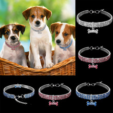 1PCS 3 Rows of Rhinestone Stretch Line Pet Necklaces Dog Cat Crystal new