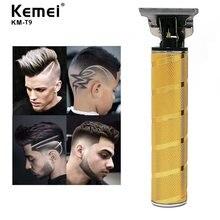 Kemei-Cortador inalámbrico de cabello KM-T9 Pro para hombres, modelo T-Outliner, de longitud ajustable mínimo 0mm
