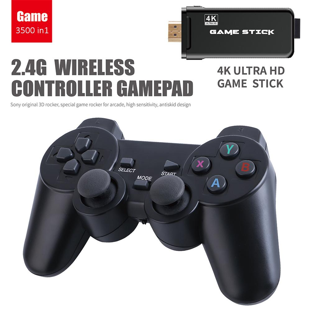 4K 3500 Games USB Wireless Console Classic Game Stick Video Game Console 8 Bit Mini Retro Controller HDMI Output Dual Player