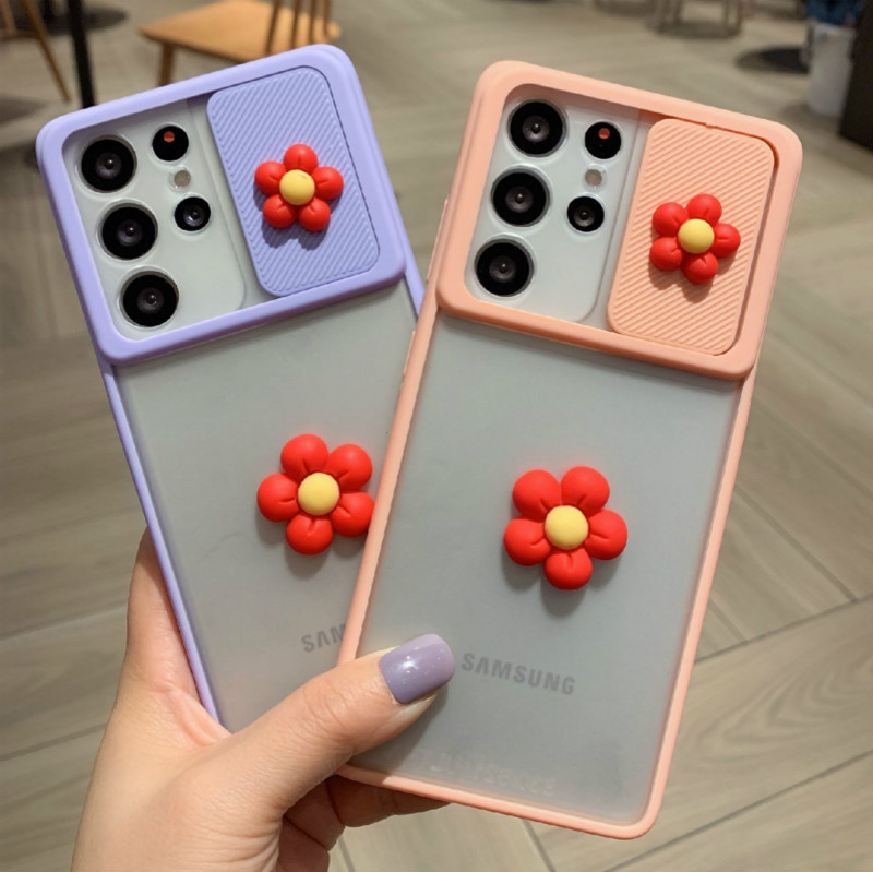 For Samsung Galaxy S21 Ultra S21plus Slide Camera Lens Protection Case For Samsung S21 S21 Ultra Cute 3D DIY Flowers Phone Cover