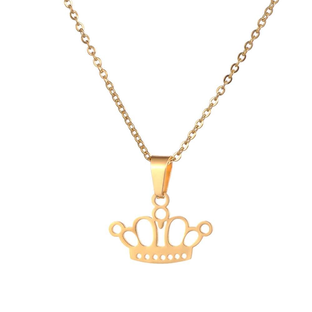 JeeMango Trendy Stainless Steel Sets For Women Cartoon Crown Shape Necklace Earrings For Women Lover's Engagement Jewelry