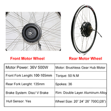 EU RU Duty Free No Tax 36V 500W eBike Conversion Kit 36V12AH Samsung Battery e bike Electric Bike Kit Front Rear Hub Motor Wheel