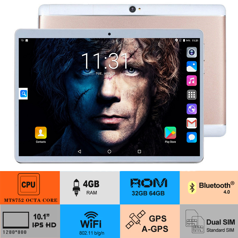 2020 Newest Google Play Store Android 8.0 OS 10 Inch Octa Core Tablet 10.1 4GB RAM 128GB ROM Dual Cameras Tablet  Free Shipping
