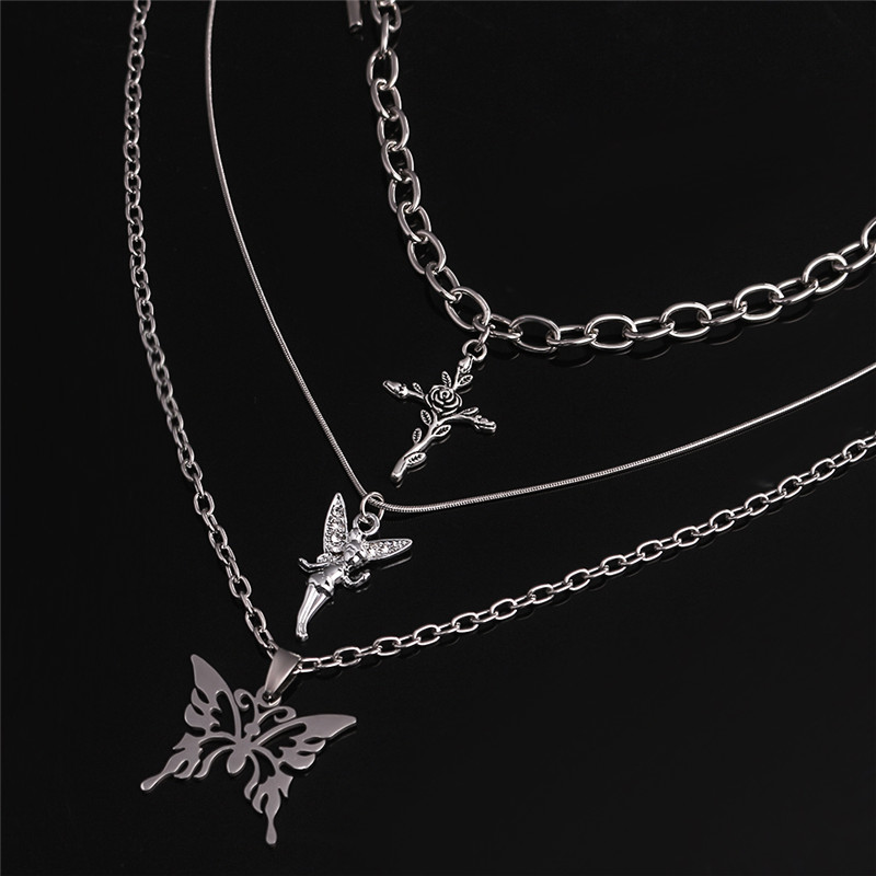 3pcs/set Butterfly Rose Angel Cross Pendant Necklace Multilayer Women Choker Long Chain Necklaces Harajuku Punk Jewelry