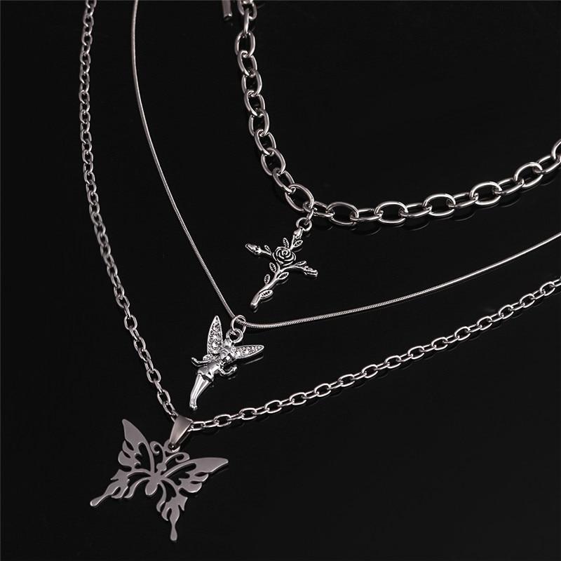 3pcs/set Butterfly Rose Angel Cross Pendant Necklace Multilayer Women Choker Long Chain Necklaces Harajuku Punk Jewelry