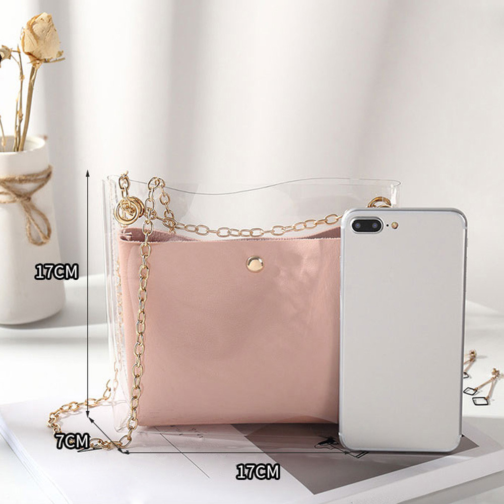Design Luxury Handbag Women Transparent Bucket Bag Clear PVC Jelly Small Shoulder Bag Female Chain Crossbody Messenger Bags#C2