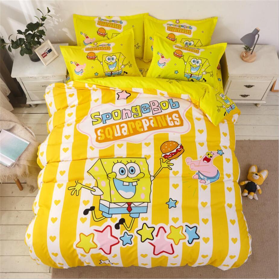 Ensemble de literie coton joli dessin animé | Spongebob couleurs de ponçage, 4 pièces/3 pièces, housse de couette, ensembles de draps de lit, ensemble taie d'oreiller
