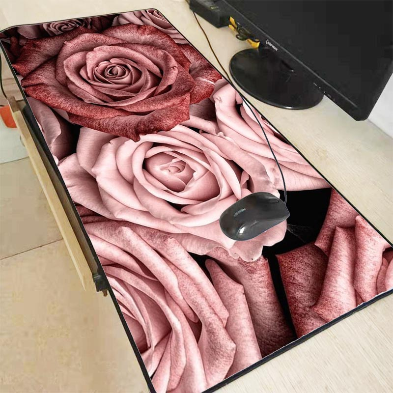 Mairuige Rose Pink Large Gaming Flower Mouse Pad Locking Edge Keyboard Mouse Mat Gaming Desk Mousepad For CS GO LOL Dota Game
