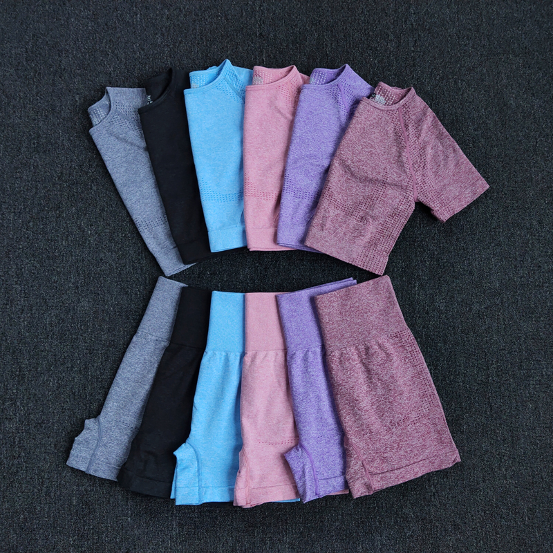 Seamless Women Yoga Set Crop Top Short Sleeve Shirt Fitness Shorts Workout Clothes For Women Gym Clothing Yoga Sport Set