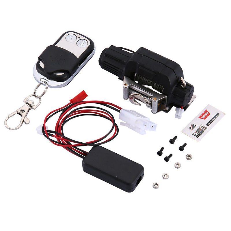 Metal Winch System with Wireless Remote Controller Receiver for 1/10 RC Car Crawler for Traxxas Trx-4 D90 SCX10-Black