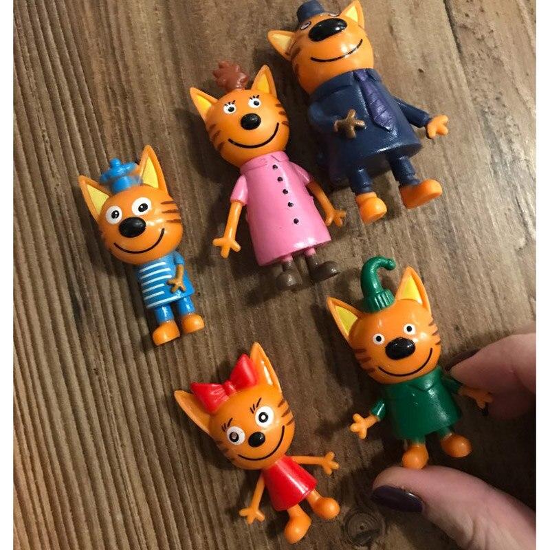 5pcs/lot Full Set Three Happy Kitten Pvc Figure Russian Cartoon Mini Cute Cats Model Doll New Year Xmas Toy Gift For Kid Boy