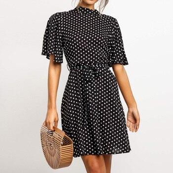 Dress Girl Polka Dot Womens Summer Fashion Print High Neck Lace Up Short Sleeve Chiffon