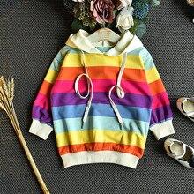 Дизайн, радужная Детская толстовка с капюшоном зимняя детская рубашка для маленьких девочек одежда для малышей хлопковая цветная одежда с принтом L5010918