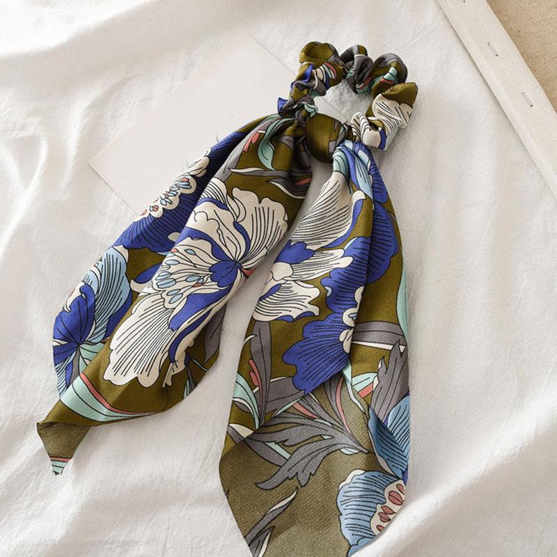 Bohème grande fleur chouchous longs banderoles arc cheveux écharpe femmes filles doux cheveux corde cravates mode cheveux accessoires chapeaux 49