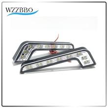 цена на New 2X 8 LED Car Daytime Running Lights Led Fog Lamp Waterproof Driving Day Light 12V 8 LED DRL Daylight Lamp ZXY001