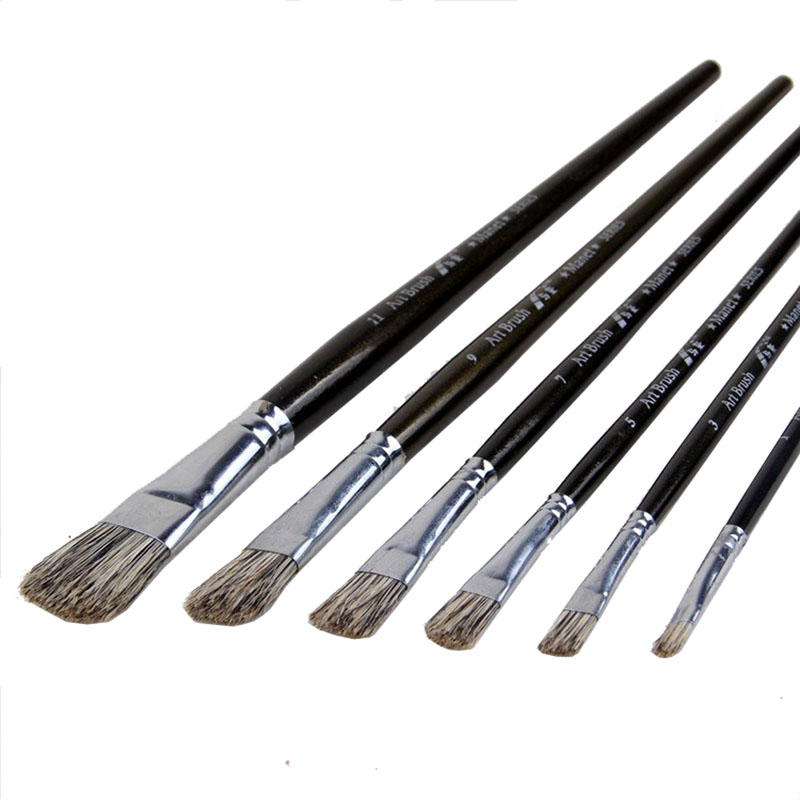6pcs/Set,High Quality Flower Pig Bristle Tongue Peak Oil Painting Brush Suit Art Supplies Painting Pen Painting Brush In Paint