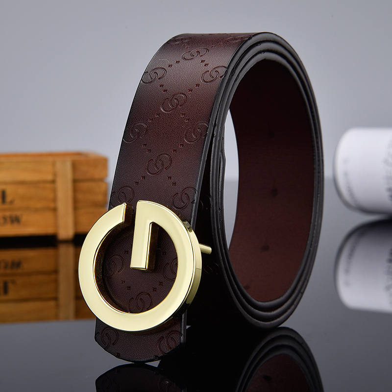 Aoluolan Design G Letter buckle High Quality Cowhide Mens Woman Belts Casual Fashion Smooth buckle Belt Width 3.4cm