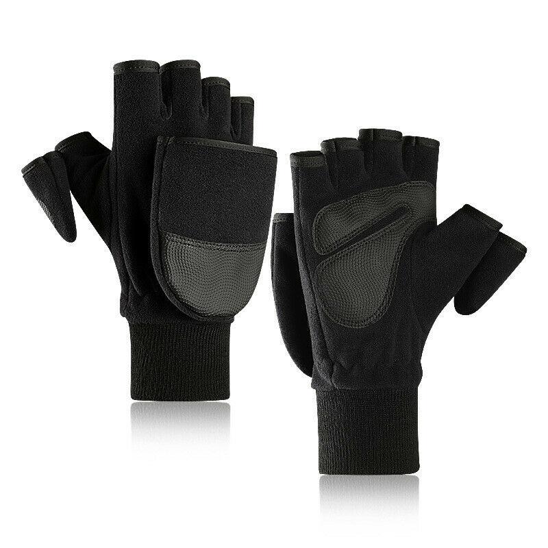 Women Men Winter Polar Fleece Half Finger Flip Gloves Double Layer Thicken Touch Screen Fingerless Convertible Mittens Wrist