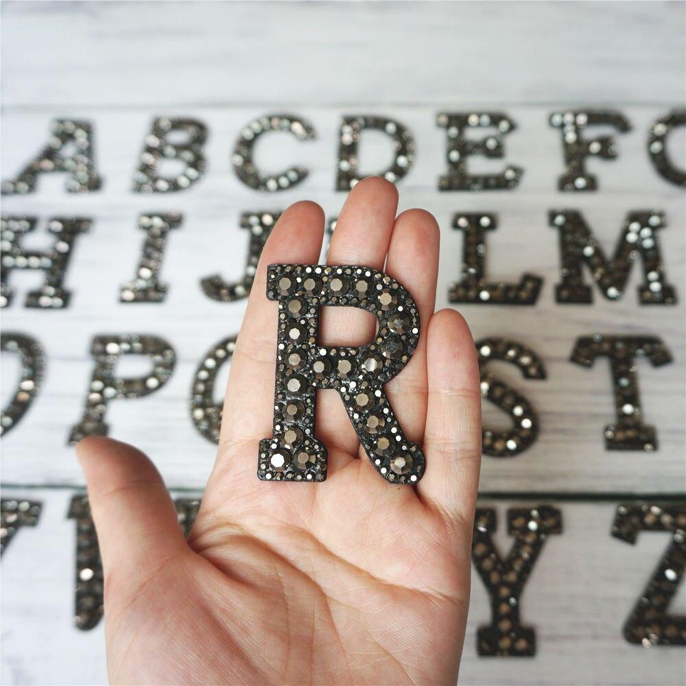 Черные стразы 26 букв алфавита ABC пришить железные нашивки блестящие Значки для имени DIY платье джинсы Аппликации украшения